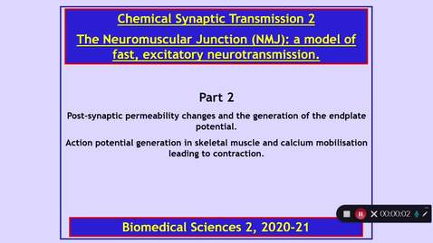 Thumbnail for entry BMS2 Chemical Synaptic Transmission 2 Part 2  Dr Phil Larkman