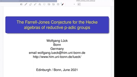 Thumbnail for entry The Farrell-Jones Conjecture for the Hecke algebras of reductive p-adic groups - Wolfgang Lück