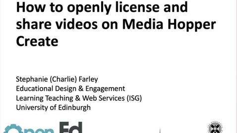 Thumbnail for entry How to openly license and share videos on Media Hopper Create