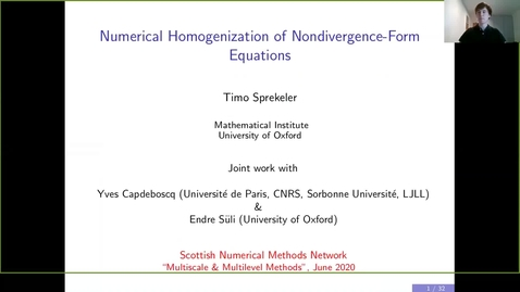 Thumbnail for entry Numerical homogenization of nondivergence-form equations - Timo Sprekeler