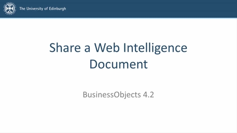 Thumbnail for entry SAP BusinessObjects 4.2 - Video 4 - Share a Web Intelligence Document