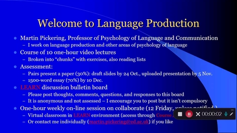 Thumbnail for entry Language Production Welcome