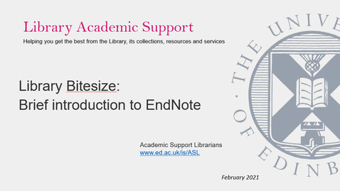 Thumbnail for entry Library Bitesize - Brief introduction to EndNote (desktop)