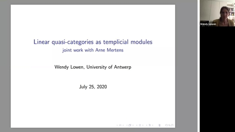 Thumbnail for entry LAGOON: Leicester Algebra and Geometry Open ONline - Wendy Lowen  (University of Antwerp, Belgium)