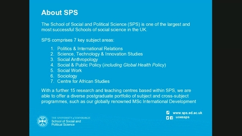 Thumbnail for entry Postgraduate study with School of Social and Political Science