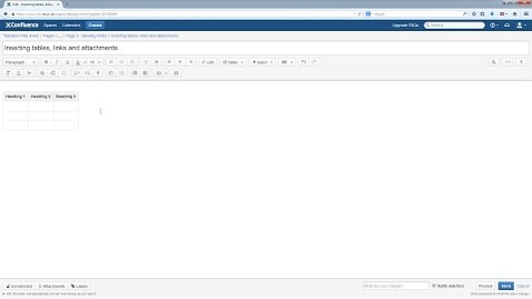 Thumbnail for entry Confluence Wiki V5 Tutorial: Adding tables, links and attachments to pages