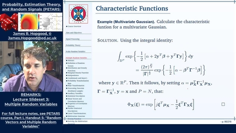 Thumbnail for entry Topic 39: Multivariate Characteristic Functions (PETARS, Chapter 5)