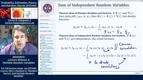 Thumbnail for entry Topic 40: Sum of Independent Random Variables (PETARS, Chapter 5)