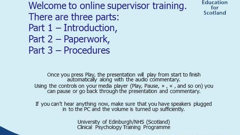 Thumbnail for entry Clinical Psychology Supervisor Training Part 1 - Introduction