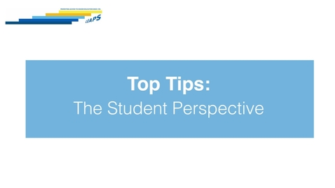 Thumbnail for entry LEAPS - Top Tips: The Student Perspective