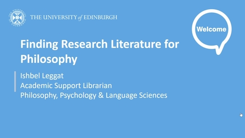 Thumbnail for entry Finding Research Literature for Philosophy
