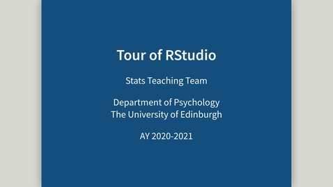 Thumbnail for entry Tour of RStudio - Part 1