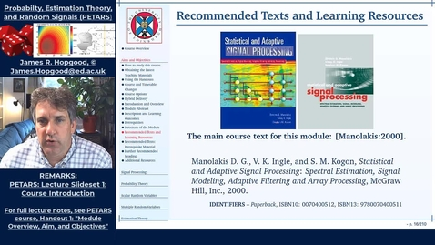 Thumbnail for entry Topic 3: Course Guide and Textbooks (PETARS, Chapter 1)
