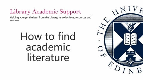 Thumbnail for entry (PG) How to find academic literature