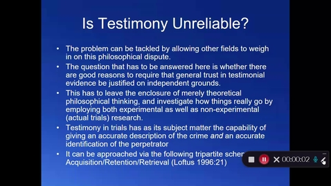 Thumbnail for entry Week 10 - Part 2 - Psychological Research on Eyewitness Testimony