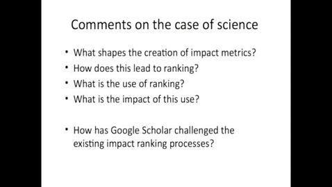 Thumbnail for entry EDR 2016 Week 2 Metrics and Indicators part 2 Science Metrics