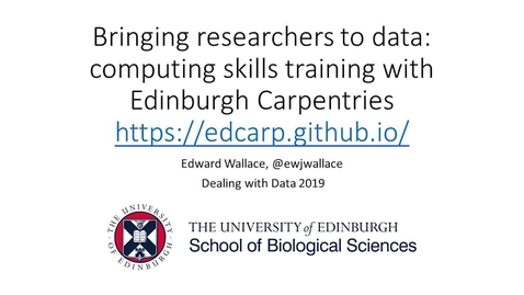 Thumbnail for entry Bringing researchers to data: computing skills training with Edinburgh Carpentries.