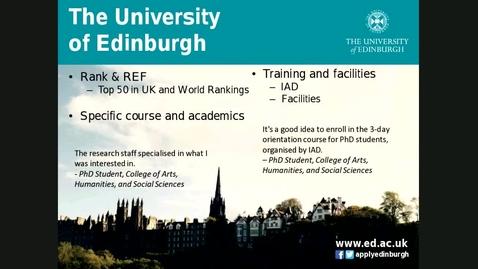 Thumbnail for entry Why students choose Edinburgh