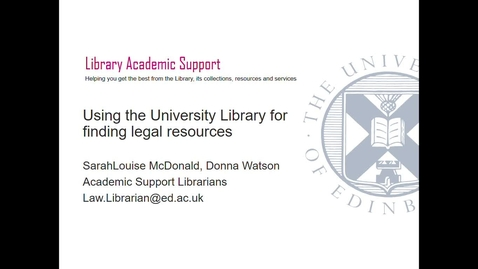 Thumbnail for entry UG- Using the University Library to find legal resources (Part 1) Sept 2020