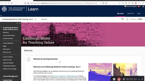 Thumbnail for entry Welcome to an Edinburgh Model for Teaching Online