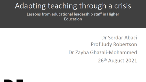 Thumbnail for entry Adapting teaching through a crisis: lessons from educational leadership staff in Higher Education