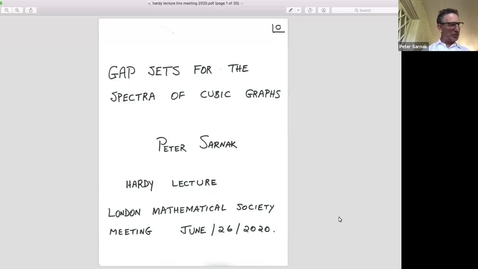 Thumbnail for entry London Mathematical Society: General Meeting, Hardy Lecture 2020 - Peter Sarnak (IAS, Princeton)