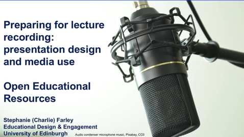 Thumbnail for entry Preparing for lecture recording: OER