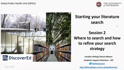 Thumbnail for entry GPHU Introduction to literature searching - session 2