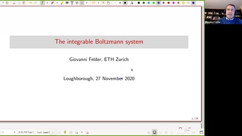 Thumbnail for entry Giovanni Felder - The integrable Boltzmann system