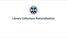 Thumbnail for entry Library Collections Rationalisation Project