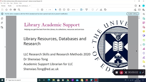 Thumbnail for entry LLC Research Skills and Methods 2020_Library