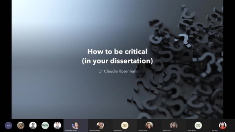 Thumbnail for entry Students_ Practice Worth Sharing (PWS) - How to be critical in your dissertation