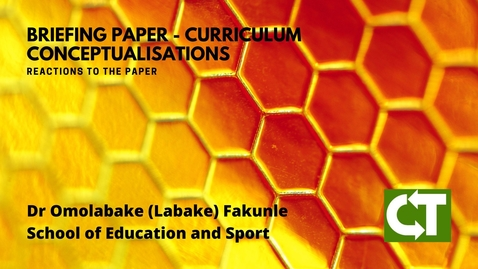 Thumbnail for entry Reactions to Curriculum Conceptualisations - Dr Omolabake Fakunle