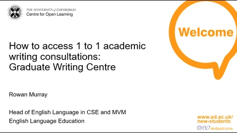Thumbnail for entry (PG) ELE Graduate Writing Centre: How to Access One-to-One Academic Writing Consultations