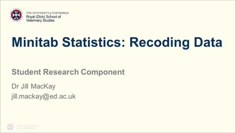 Thumbnail for entry Minitab Statistics: Recoding Data
