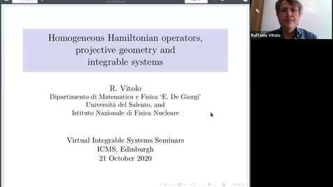 Thumbnail for entry Homogeneous Hamiltonian operators, projective geometry and integrable systems - Raffaele Vittolo