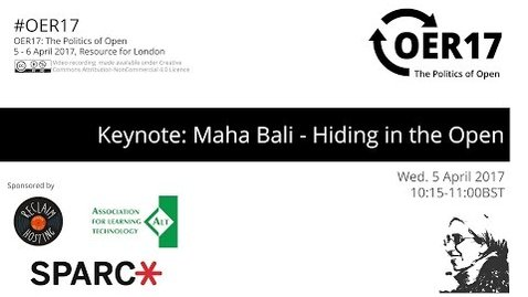 Thumbnail for entry OER17 Keynote: Maha Bali - Hiding in the Open