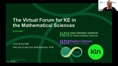 Thumbnail for entry Chris Budd - Virtual Forum for Knowledge Exchange in the Mathematical Sciences (V-KEMS)
