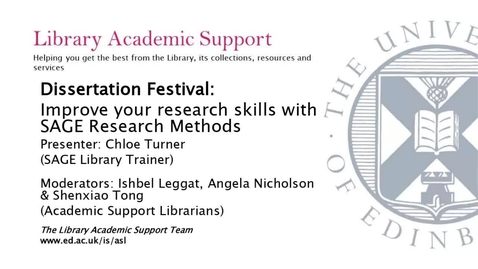 Thumbnail for entry Dissertation Festival: Improve your research skills with SAGE Research Methods