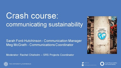 Thumbnail for entry Crash Course in Communicating Sustainability - 14.05.20
