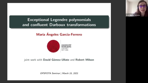 Thumbnail for entry Exceptional Legendre polynomials and confluent Darboux transformations - María Ángeles Garcia-Ferrero