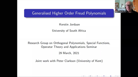 Thumbnail for entry Generalised higher order Freud polynomials - Kerstin Jordaan