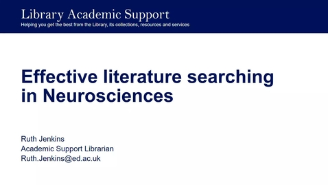 Thumbnail for entry Effective literature searching in neurosciences