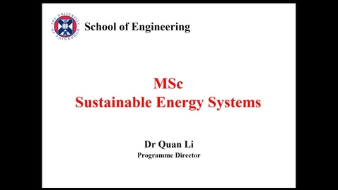 Thumbnail for entry MSc Sustainable Energy Systems Welcome Meeting with Programme Director