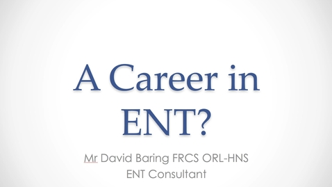 Thumbnail for entry MBChB Yr5 ENT Core week Lecture