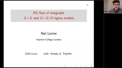 Thumbnail for entry South East Mathematical Physics seminars: Nat Levine  - RG flow of integrable GxG and GxG/H sigma models
