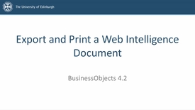 Thumbnail for entry SAP BusinessObjects 4.2 - Video 5 - Export and Print a Web Intelligence Document