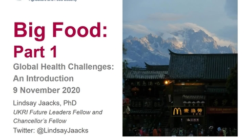 Thumbnail for entry Global Health Challenges Intro Course - Big Food Part 1 2020-11-9