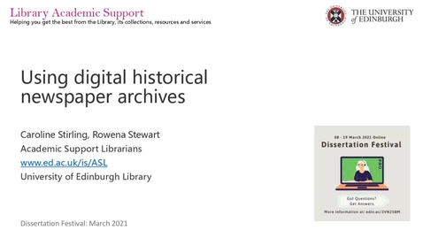 Thumbnail for entry Dissertation Festival: Using digital historical newspaper archives