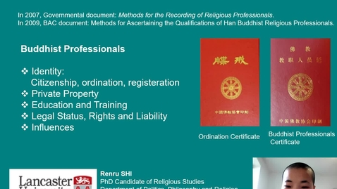 Thumbnail for entry Renru Tang - The Professionalisation of Chinese Buddhist Monastics